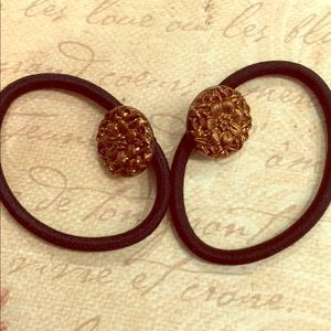 Vint. Set of Copper Pressed Glass Button Hair Ties